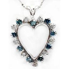 Stunning New 1.5 Ct Blue & White Heart Shaped Diamond Pendant Set In 10ct Gold