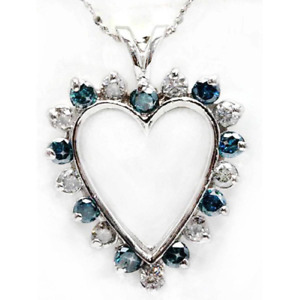 New 10ct Gold Heart Shaped Pendant Set With Blue & White Diamonds TCW 1.5ct