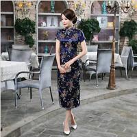 black Chinese women's  silk/satin dragon and phoenix Dress/long Cheong-sam 6-22