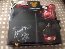 Primark Disney 4x Mickey Mouse Christmas Bauble Decoration Glitter Red Black