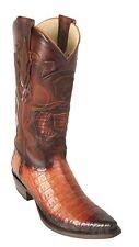 Los Altos Genuine Cognac Caiman CROCODILE Belly Snip Toe Western Cowboy Boot EE+