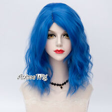 Blue Medium Hair Curly Women Party Cosplay 40CM Lolita Wig Heat Resistant + Cap