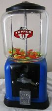 Topper Round Peanut / Candy 1c Dispenser circa 1940's (blue/black)