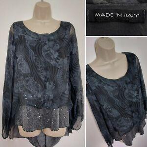 Ladies MADE IN ITALY Grey Silk Layered Floaty Top Sequin Trim Medium Lagenlook