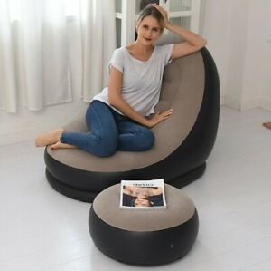 Sofa BEAN BAG Lazy Inflatable Folding Recliner Outdoor Sofa Bed With Pedal Chair