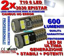 2 LAMPADINE T10 6 LED 3030 CANBUS NO ERRORE POTENTISSIME W5W 600 LUMEN!!!!