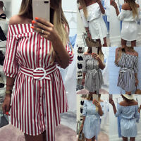 Summer Womens Holiday Off Shoulder Mini Ladies Stripe Party Button Belt Dress