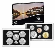 2017 S SILVER PROOF Set US Mint 10 Coins Kennedy ATB $1 Dime Penny w/ BOX COA