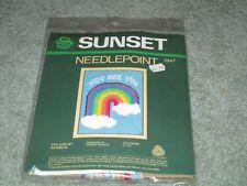 "New Rare Sunset ""You Are My Rainbow"" Needlepoint Kit Vintage 1982"