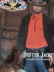 MENS COWBOY JACKET with shirt Front & BOOTLACE TIE Fancy Dress Costume Outfit