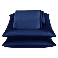 2 Pieces of 350TC Solid Navy Blue Soft Silk~y Satin Pillow Case Queen/Full Size