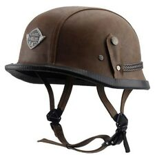 Brown Harley Motorcycle PU Leather Half Helmet Open Face For 22.5-24.5'' M/L/XL