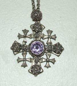 Antique Sterling Silver Jerusalem Holy Land Filigree Cross Amethyst Alexandrite