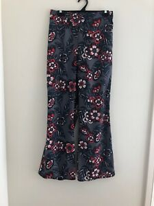 Womens Valleygirl 12 Floral Wide Leg Pants Elastic Waist Lightweight