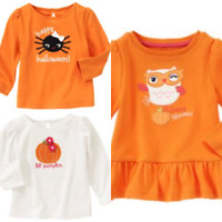 Gymboree Halloween Shop 12-18-24 mo 2T 3T 4T Shirt Owl Pumpkin Fall Orange 2011
