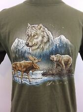 Vintage ALASKA Wolf Bear Moose Green Cotton T-shirt Size Medium
