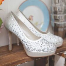 Stunning Rainbow Couture 'Desario' Ivory Satin Sparkly Bridal Shoes Size 5.5 New