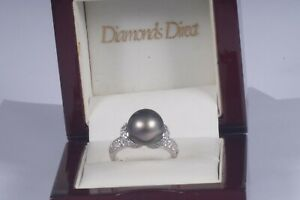 """South Sea Black """"Tahitian"""" 11.3 mm Pearl and Diamond Ring set in 14k white gold"""