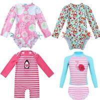 Infant Baby Girl Long Sleeve Floral Ruffle Rash Guard Bathing Swimsuit Swimwear