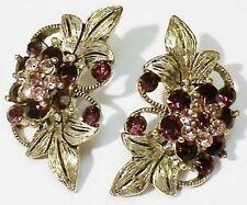 boucles d'oreilles percées bijou vintage couleur or cristal améthyste  2207