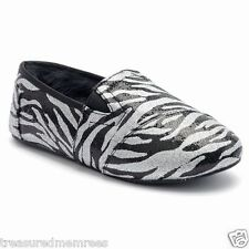SO Plush Shine Slippers ~  Size Large (9-10) ~ Zebra Print ~ New With Tags