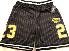 Nba Los Angeles Lakers #23 Lebron Black Pin-Striped Basketball Shorts Mens Xl