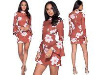 Vestito donna mini abito miniabito floreale fiori svasato elegante nuovo