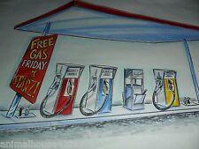 "(2) LOT 17x11"" ORIGINAL ART FOR STARZ ENCORE FREE GAS STATION PUMPS FRIDAY NICE"