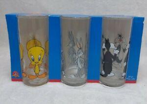Looney Tunes Tumblers Tweety Pie Bugs Bunny Sylvester Glasses 1999 Luminarc MINT