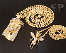 ICED OUT GOLD PT JUMBO JESUS FACE & CROWN BABY ANGEL CZ PENDANT 2 NECKLACE SET