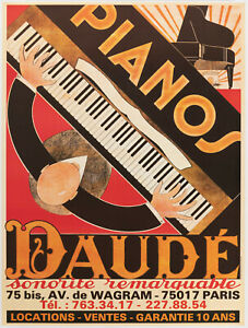 Original Vintage Poster - André Daudé - Piano Daudé - Music - Reprint - 1980