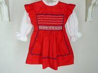 Vtg Polly Flinders Hand Smocked Alpine Dress Sz 4 Girl Red Dirndl Lace Christmas