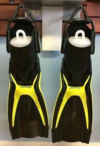 TUSA Hyflex Switch Fins w/bungee strap Size M Yellow SCUBA