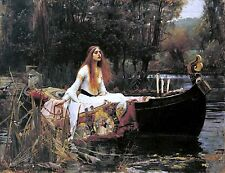 "John William Waterhouse, The Lady of Shalott, Boat, antique, 14""x11"" Art Print"