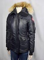 Women's CANADA GOOSE Montebello Parka Size Small S Black Coat Jacket Down Fur