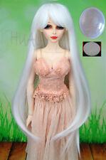 "BJD Doll Hair Wig 7-8"" 1/4 Pure White Long +Cap SD DZ DOD LUTS Pullip Dollfie"