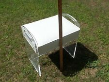 Vtg Mid Century 1970s Clear Lucite Thick Acrylic Stool Ottoman