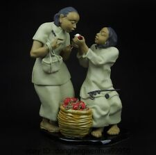 China Pottery Wucai Porcelain Art Home Decoration Sweet Litchi Statue Sculpture