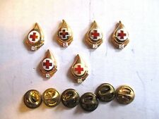 Red Cross Gallon Blood Donor Pin lot #s 1 2 3 4 5 & 6 Gold Plated Hallmarked