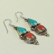 New Arrival Party Wear Red Coral & Turquoise Tibetan Earring NE-7228