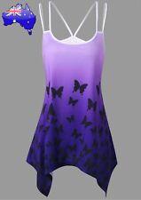 Women's Butterfly Purple Ombré Gradient Hanky Hem Stretchy Top Blouse 14 NEW