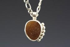 Dark Amber Sea Glass Necklace