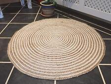 4x4 Feet Braided Rug Round Floor Mat Handmade Reversible Jute White Base Rug