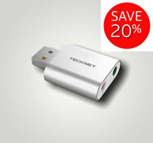 Tecknet USB External Sound Card 3D Stereo Sound Audio Adapter Converter For Wind