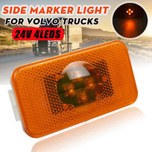 2X 24V 4 LED Side Marker Light Lamp Indicator Amber For Volvo FM FH FL Truck