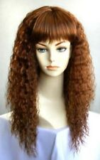 80'S WOMAN LONG SOFT S-WAVE WAVY CURLY WIG W/ STRAIGHT BANGS HEATHER COSTUME