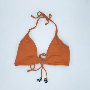 Ralph Lauren Women's *Medium Bikini Top Strappy Metal Tassels Orange U10