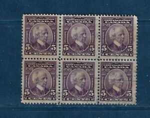 Canada #144  block of 6 well center    used