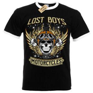 Perdu Garçons Motos T-Shirt Motard Vêtements Crâne Hommes Contraste