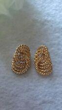 "Circles Dangle Pierced Earrings 1-1/8"" Vintage Carol Dauplaise Gold-tone Rope"